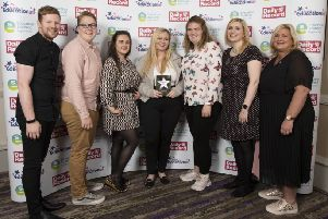 Children & Young People's Participation Award winners South Ayrshire Youth Forum with Gayle Gorman, Chief Executive of Education Scotland.