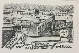 Etching of Cumbernauld Town Centre by Ashleigh Murphy, Craigieburn Road, North Carbrain