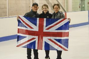 Cumbernauld skater Brodie Sneddon with her two coaches, Dave Mumby and Gemma Chaddock