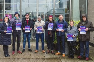 Lecturers from New College Lanarklshire take part in the day of action