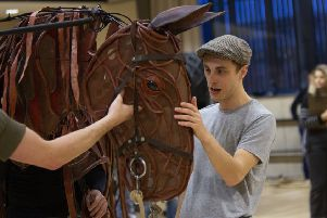 Scott Miller gets to know 'Joey' during rehearsals for War Horse which starts a worldwide tour in Glasgow next month