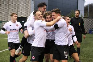 Ray Grant celebrates with his Clyde team-mates after hus winner against Cowdenbeath (pic by Craig Black Photography)