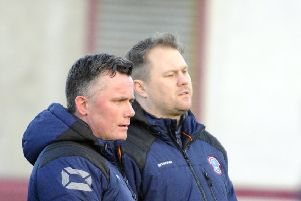 United boss Andy Frame (right) and coach Billy McDonald are eyeing up a place in the top flight.