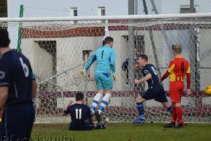 Cumbernauld celebrate as Paddy McCabe equalise, but it was Rossvale who took the spoils (pic courtesy of HT Photography/@dibsy_)