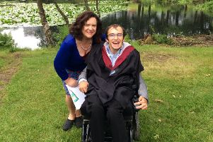 TalkTime Scotland founder Josh Hepple celebrates graduating with a Law degree from  Stirling University with his mum Seonaid