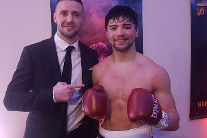 Josh Taylor congratulates Cumbernauld's Andy Tham on winning his first professional fight