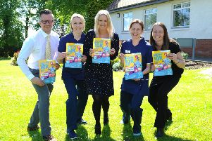 (From left) Graham Stevenson, Lightways operations manager; Linda Milne, Strathcarron physiotherapist; Nicola Turnbull, Lightways director; Ruth Candy, Strathcarron physiotherapist; and Lightways Helena Swierczek
