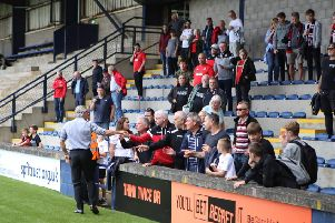 Danny Lennon acknowledges the Clyde fans after the 5-2 defeat at Raith Rovers (pic: Craig Black Photography)