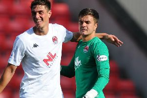 Alex Petkov (left) celebrates with David Mitchell after Clyde's weekend win over Falkirk (pic: Michael Gillen)