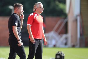 Clyde boss Danny Lennon and assistant Allan Moore (pic: Craig Black Photography)