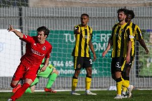 Chris Johnston wheels away in celebration after netting Clyde's match winner at Dumbarton (pic: Andy Scott).