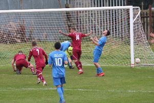 Sub Scott Thomson celebrates Cumbernald United's second goal, scored by Paul Callendar (on ground). Pic: Eoin Sinclair