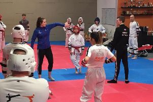 Raw Taekwondo Cumbernauld students with Rebecca McGowan and Bradley Sinden
