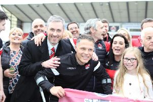 David Dishon celebrating with John Rankin after Clyde's promotion success in May (pic Craig Black Photography)