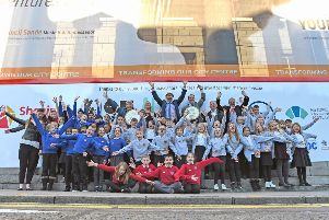 Pupils from Gilcomstoun School, Quarryhill School and Bramble Brae School, who are young ambassadors for the Music Hall Transformation.