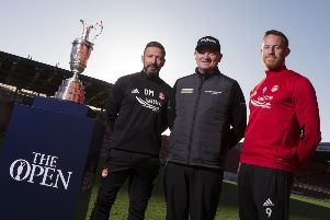 Thursday 16th November 2017, Aberdeen, Scotland.  '''Pictured: Derek McInnes and Paul Lawrie with Adam Rooney'''(Photo: Ross Johnston/Newsline Media)