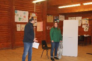 Richard Stables and Mel Knight in rehearsal for one of Banchory Drama Club's entries into the Scottish Community Drama Festival