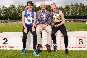 Willy Russell with Banchory Stonehaven Athletics Club athletes Craig Strachan and Alisha Rees