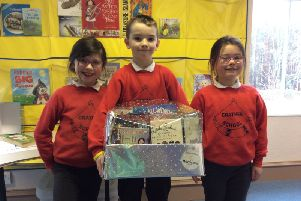 Some of the Crathes pupils with the book donation