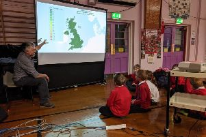 Dr Mike Rivington speaks to pupils about climate change