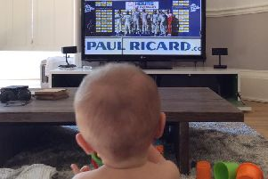 10-month-old Callum Hoy watching dad Chris winning Le Mans. Picture: Twitter/SarraHoy