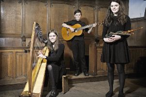 St Mary's Music School Brighde Chaimbeul (right) who has won through to the final of this year's BBC Radio 2 Young Folk Award, with her sister Kirsty aged 15 and brother Joseph aged 13. Picture: Neil Hanna