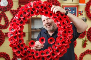 Stuart Ballentine creates a wreath at Lady Haig's Poppy Factory. Picture: Toby Williams