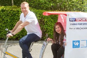Sir Chris Hoy and Abbie McCallum at Sky Livingston. Picture: Peter Devlin