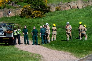 Emergency services in attendance at Arthur's Seat, where the woman fell. Picture: Wullie Marr