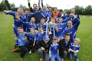 A jubilant Bo'ness side celebrate their 5-1 East of 'Scotland Cup victory. Pic: Alan Murray