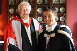 Gregor McMillan receives his Larmor Award from the Master of St John's College, Professor Chris Dobson. Picture: contributed