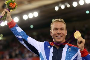 Sir Chris Hoy celebrates his gold medal for the Men's Keirin Track Cycling Final at the London 2012 Olympics (Photo by Bryn Lennon/Getty Images)