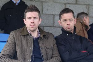 Steven Hislop, left, with his assistant, David Bingham. Hislop's transfer budget has been cut because of a fine from the SFA