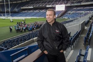 Sir Chris Hoy joins SAMH staff and service users at Murrayfield Stadium to take part in a Walk A Mile event whilst discussing mental health. Picture; ''Lenny Warren