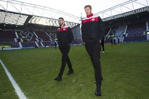 Bonnyrigg players arrive at Tynecastle. Picture: SNS