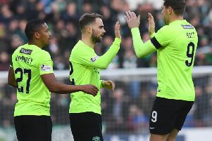 Andrew Shinnie (centre) is congratulated by Chris Humphrey and Grant Holt on his opening goal against Bonnyrigg Rose at Tynecastle