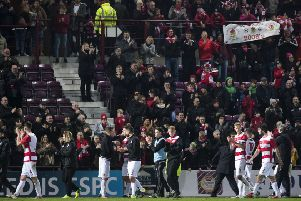 The Bonnyrigg Rose players applaud their fans at full-time