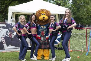 Cheerleaders from the Edinburgh Capitals cheerleaders and mascot Pawz