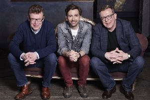 The Proclaimers meet David Tennant during the documentary. Picture: Debra Hurford Brown