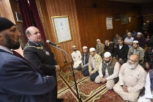 Lord Provost Frank Ross speaks at Polworth Mosque. Picture: Greg Macvean