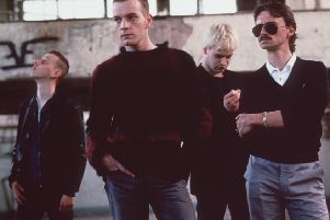 Spud (Ewen Bremner), Renton (Ewan McGregor), Sick Boy (Jonny Lee Miller) and Begbie (Robert Carlyle) in Trainspotting