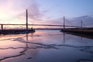 View at dusk of the Queensferry Crossing bridge from Port Edgar, South Queensferry. Picture: Ian Rutherford