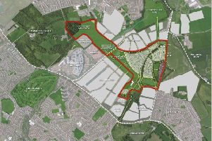 The planning application site can be seen here bounded in red. Picture: contributed