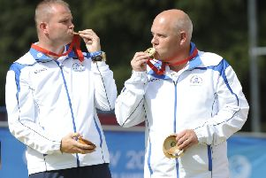 Alex Marshall and Paul Foster with their Commonwealth Games gold medal. Picture: Andrew O'Brien