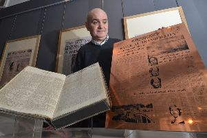 Ian Scott with items from The Scotsman exhibition. Picture: Jon Savage