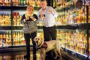 Head of ITV SignPost Scotland with Deborah Preston and her hearing dog. Pic: Ian Georgeson Photography