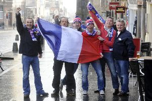 French rugby fans on the Royal Mile. Picture: Greg Macvean