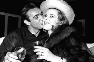 Sean Connery and Honor Blackman during a 1964 press conference at Pinewood Studios for the third Bond film, Goldfinger. Picture: PA Wire