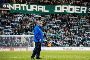 Hearts manager Craig Levein, with the Hibs fans' 'Natural Order' banner behind him. Picture: Alan Harvey/SNS