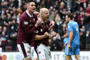Hearts' Steven Naismith celebrates giving the home side the lead. Picture: SNS/Craig Foy